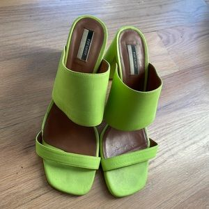 Topshop lime green square toed sandals